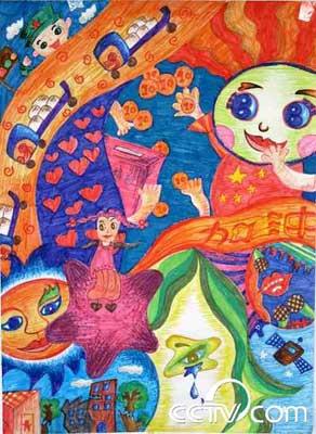 晚会的另一亮点.稚拙的画笔,美好的梦想.儿童画生动反映了儿童的